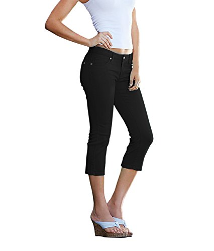 Women's Butt Lift Super Comfy Stretch Denim Capri Jeans-Q43300X-BLACK-16 (Capri Size Jeans Plus)