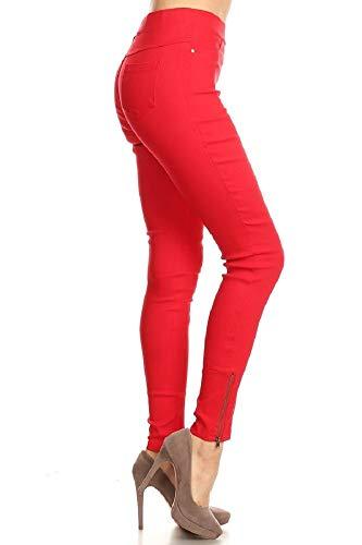 Women's Skinny Strechy Pull-On Ankle Zip Jeggings Red Small Back Zip Capri Jeans