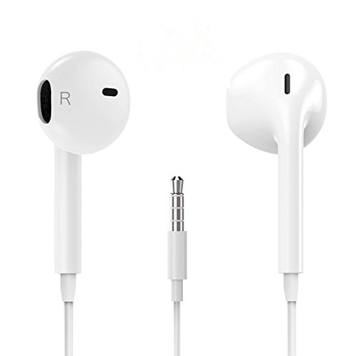 Premium Earphones/Earbuds/Headphones with Stereo Mic&Remote Control Compatible iPhone iPad iPod Samsung Galaxy and More Android Smartphones Compatible with 3.5 mm Headphone White