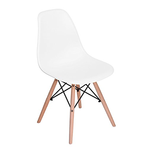 Home Make Set de 2 sillas Eames para comedor o escritorio sin brazos color Blan