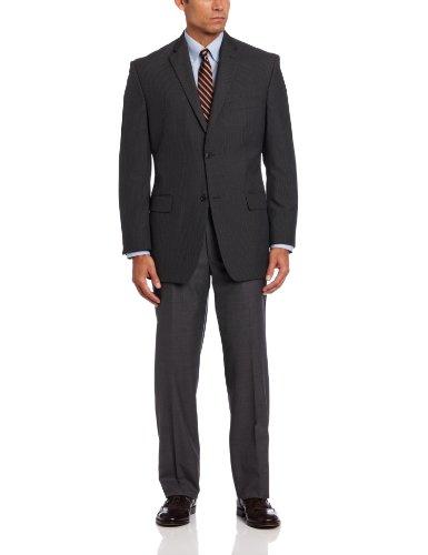Classic Pinstripe Coat (Haggar Men's Textured Pin Stripe Classic Fit Coat, Gray, 44 L)