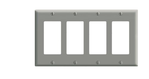 (Leviton 80412-GY 4-Gang Decora/GFCI Device Wallplate, Standard Size, Thermoset, Device Mount, Gray)