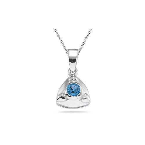 0.20 Ct 4 mm AA Round Swiss Blue Topaz Trillion Pendant-Silver - Valentine's Day Sale