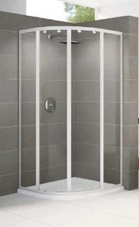 Mampara de ducha Riviera 1/4 redondo cristal 4 mm profile blanco y ...