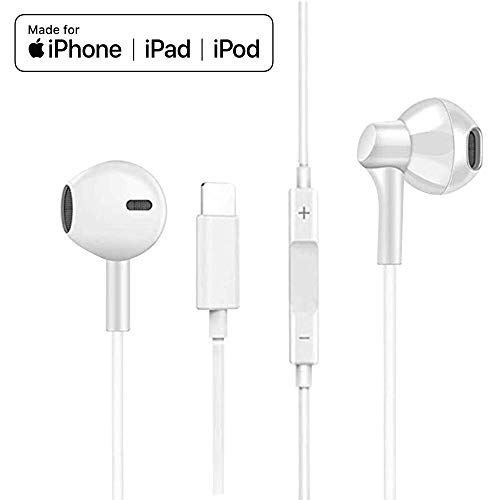 Lightning Earbuds MFi Certified Earphones Headphones with Microphone and Volume Control, Noise Isolating Headset Compatible with iPhone XS/Max/XR/X/8/Plus/7 and iOS 10/11/12(White)