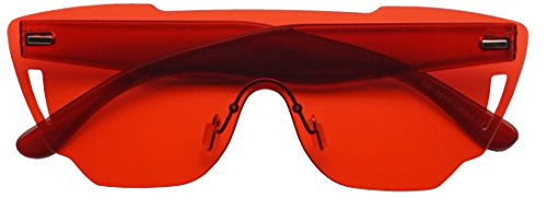 Colorful Bold Oversize One Piece Mono Block Full Shield Rimless Color Sunglasses (Red (Shield), - Red Colour Sunglasses
