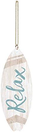 Graham Dunn Relax Script Whitewash Surfboard 1.5 x 4.5 Wood Hanging Car Charm P