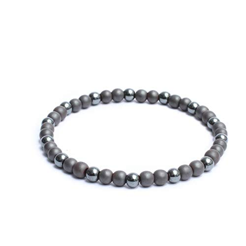 - Natural Semi Precious Gemstones Casual Plain Two Tone 6mm Beaded Link Stretch Mens Bracelet Stainless Steel - Matte & Glossy Hematite