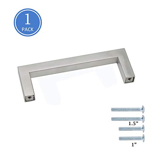 "3-3/4"" Screw Spacing Kitchen Cupboard Cabinet Handles Bathroom Modern Style Square Bar Pulls Satin Nickel Finish Stainless Steel 0.4"" Wide Modern Style Hardware, 1 Pack"