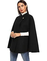 Women's Double Button Cloak Sleeve Elegant Cape Mock Poncho Classy Coat