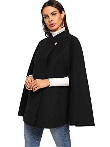 MAKEMECHIC Women's Single Button Cloak Sleeve Elegant Cape Mock Poncho Classy Wrap Cape Coat Black-6 M -