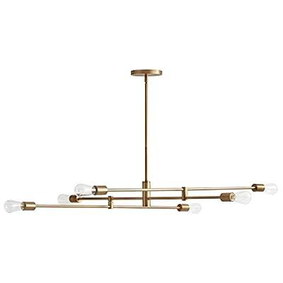 Rivet Mid-Century Modern Metal Rod Ceiling Pendant Light Chandelier - 63 x 42.5 x 50 Inches, Brass