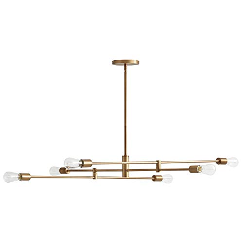 - Rivet Mid-Century Modern Metal Rod Ceiling Pendant Light Chandelier - 63 x 42.5 x 50 Inches, Brass