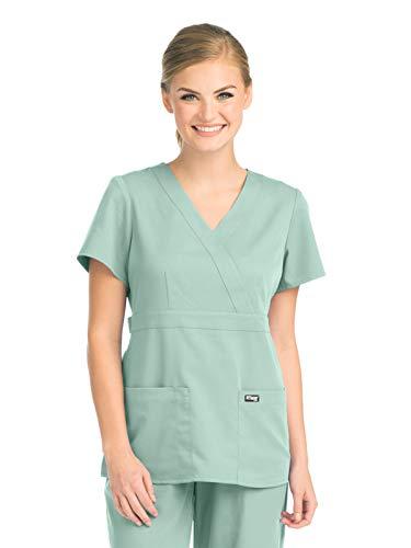 (Grey's Anatomy 4153 Women's Mock Wrap Top Aqua Mist 2XL )