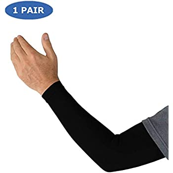 Kinship Comfort Brands® True Graduated Compression Arm Sleeves Therapeutic Support for Arm Muscles for Men & Women | Moisture Wicking, Fabric | UV Sun Screen | ONE Pair (Available in Sizes S,M,L,XL)