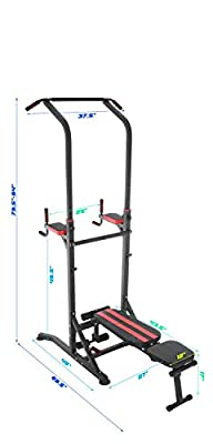 Conquer Power Tower Home Gym Adjustable Multi Function Fitness Stand Fold Up Bench Dip Station Pull Up Push Up Sit Up V