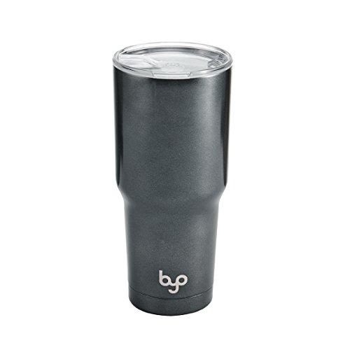 BYO 5212992 Double Wall Stainless Steel Vacuum Insulated Tumbler, 30-Ounce, Metallic Gunmetal ()