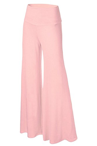 Womens Comfy Chic Boho Palazzo Gaucho Lounge Pant (Pink) - 1