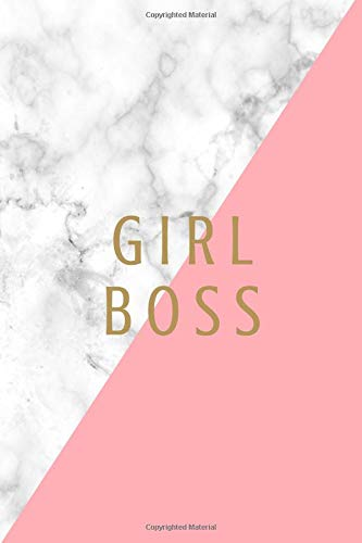 Girl Boss: Lined Journal/Diary for Women to Write in Gray and White Marble with Pink and Gold