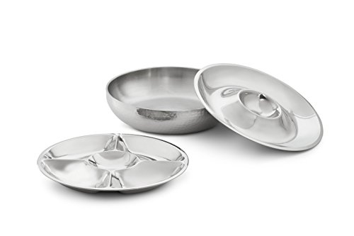 Artisan 3-Piece Stainless Steel Serving Bowl with 2-Section and 5-Section Top Trays and Insulated Lower Bowl (Serving Platter Oyster)