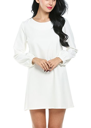 ACEVOG Women's Plain Long Sleeve Shift Dress (Small, White)
