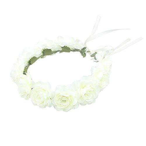 Jewelryou Flower Crown Floral Hair Wreath Halo Boho Garland Headpiece Wedding Festival Party(RibbonWhite, One Size)