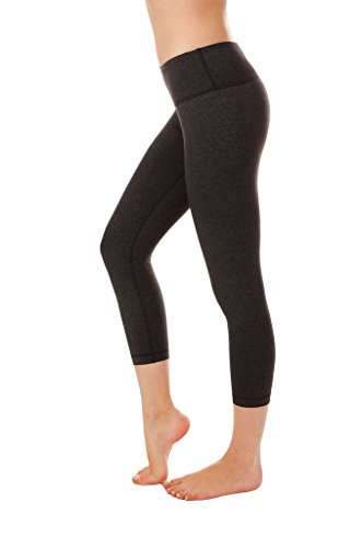 90 Degree By Reflex – Power Flex Yoga Capri – Cationic Heather Activewear Pants - Heather Charcoal XS by 90 Degree By Reflex (Image #1)