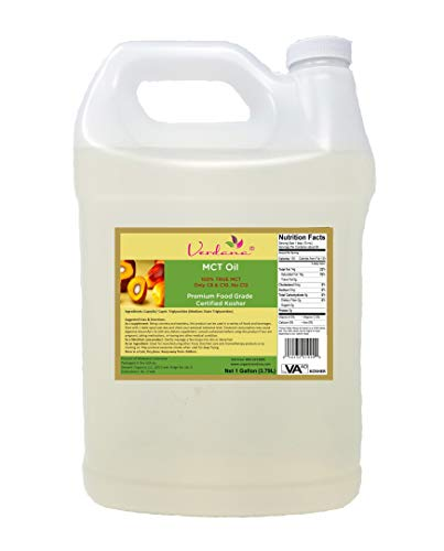 Verdana Food Grade MCT Oil - Kosher - 1 Gallon - Pure True Medium Chain Triglycerides, Without Long Chain for Easy Absorption - Great for Food, Skin, Aromatherapy Products - Very High Quality - High Quality Aromatherapy