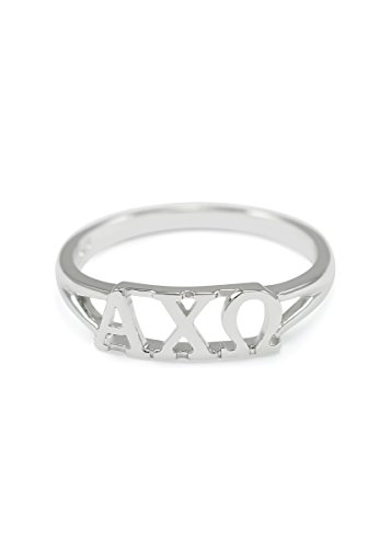 The Collegiate Standard Sterling silver Alpha Chi Omega ring with cut-out letters size 8