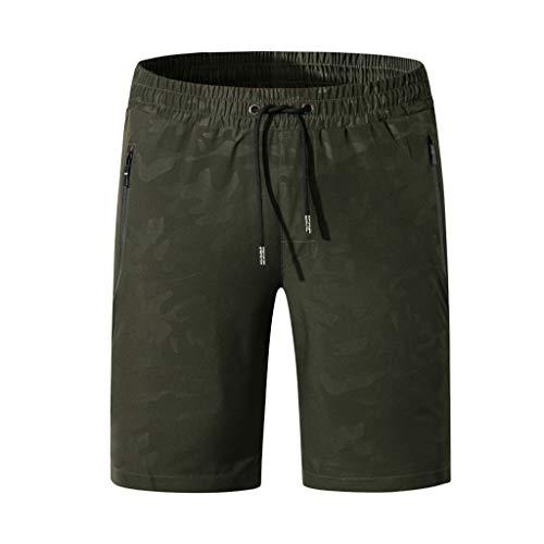 Alangbudu Men's Swim Trunks Quick Dry Beach Shorts Print Drawstring Boardshorts Surfing Army Green