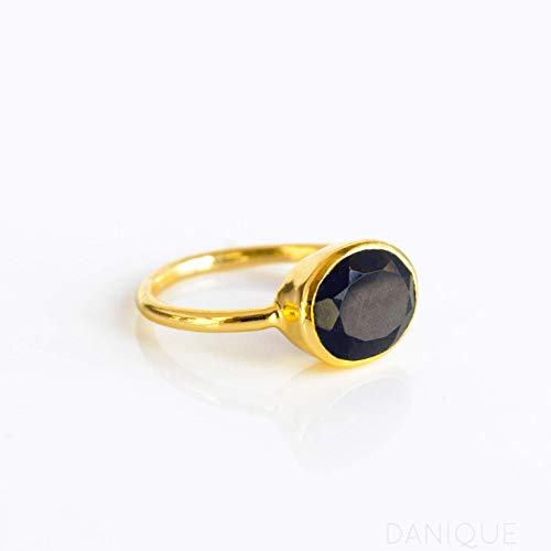 - Black Onyx ring, stackable ring, Vermeil Gold or silver, bezel set ring, oval ring, black gemstone ring, Birthstone ring