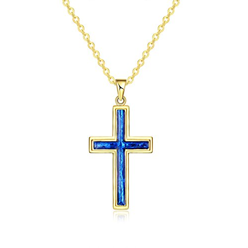 Charm Blue Cross Pendants Gold Necklaces Crystal Jewelry Chain for Women Girls Gifts Presents ()