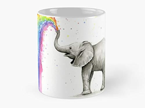 Baby Elephant Spraying Rainbow Mug, Standard Mug Mug Coffee Mug Tea Mug - 11 oz Premium Quality printed coffee mug - Unique Gifting ideas for Friend/coworker/loved ones