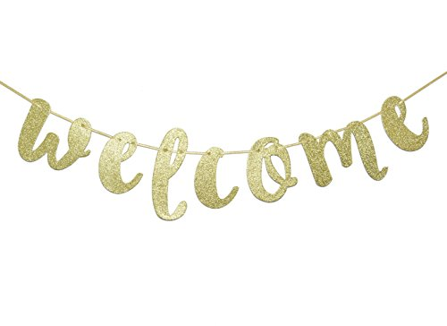 Welcome Gold Glitter Hanging Sign Banner- First Day of School, Classroom, Wedding, House, Home Decor (Gold) ()
