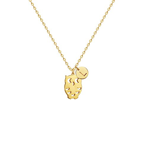 Fettero Gold Initial Owl Pendant Necklaces for Women,14K Gold Plated Handmade Dainty Personalized Cute Charm Animal Best Friend Lover Necklace Jewelry,Initial L