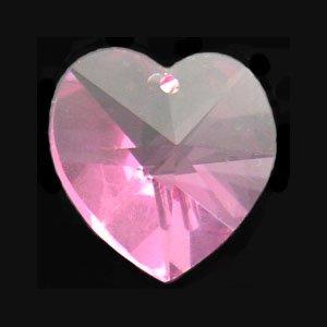 Swarovski 6202 18mm Crystal Heart Pendant Beads in Color Rose Pink (1) -