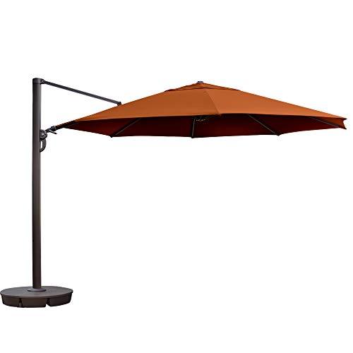 (Island Umbrella NU6750 Victoria Octagon Cantilever in Sunbrella Acrylic, 13', Terra Cotta)