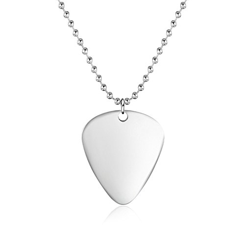Beydodo Guitar Pick - Custom Any Message - Personalized Necklace Mens Womens Stainless Steel Guitar (Steel Guitar Necklace)