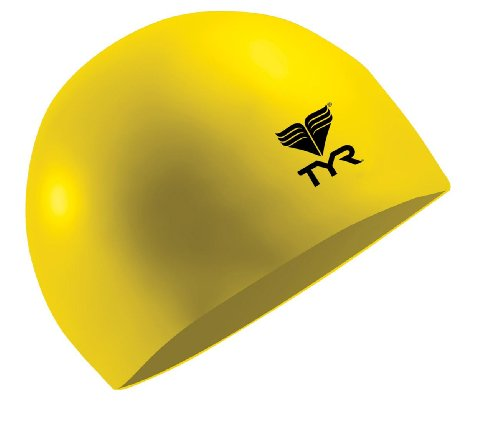 TYR Latex Swim Cap, Yellow