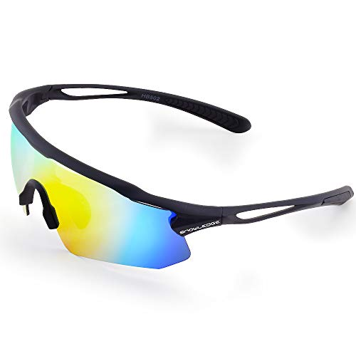 (Snowledge Polarized Sports Sunglasses for Men Women with 5 Interchangeable Lens,Polarized Cycling Sunglasses with Anti-Uv400 for Driving Fishing Glof)