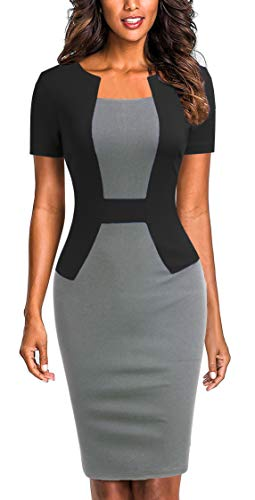 Sheath Suit - Mmondschein Women's Short Sleeve Colorblock Sheath Pencil Business Church Dress (Dark Grey, XX-Large)