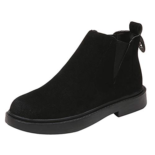 Women Solid Suede Round Toe Slip On Martin Boots Ladies Casual Work Outdoor Chelsea Shoes Girls School Warm Winter Mid Cuff Falt Loafers Slouch Boots for Jeans Dress Black Grey Size 3-5.5 Black