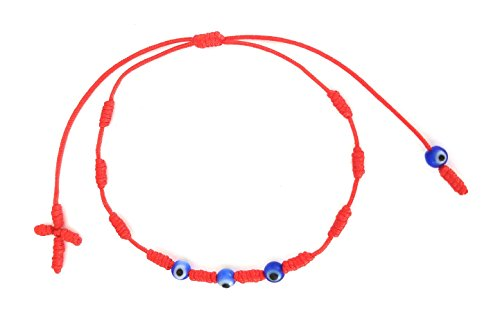 Lucky Charms USA Red String Evil Eye Knotted Bracelet with Cross and 3 Evil Eyes