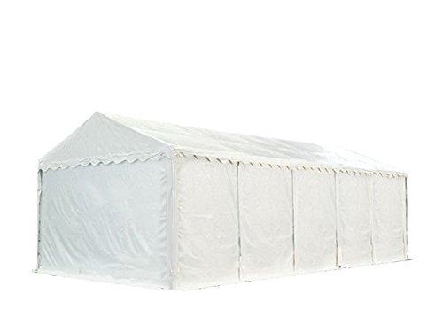 XXL Lagerzelt PROFESSIONAL PLUS 4x10m, hochwertige 550g/m² feuersichere PVC Plane nach DIN in weiß, vollverzinkte Stahlkonstruktion, Ø Stahlrohre ca. 50 mm, Seitenhöhe ca. 2,6 m