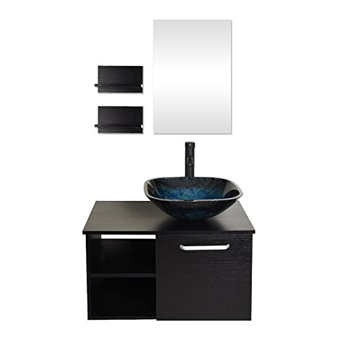 (28 Inches Bathroom Vanity, Modern Lavatory Wall Mounted Cabinet, with Mirror, Blue Square Glass Sink Top with Single Faucet Hole)