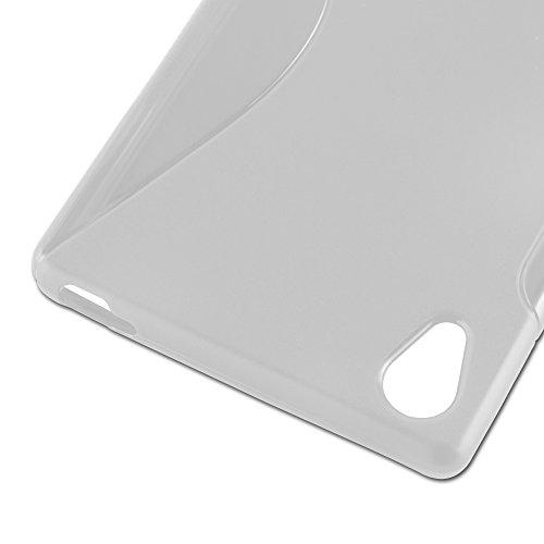 Cadorabo - Sony Xperia M5 Cubierta protectora de silicona TPU en diseño S-Line - Case Cover Funda Carcasa Protección en ROJO-INFIERNO SEMI-TRANSPARENTE