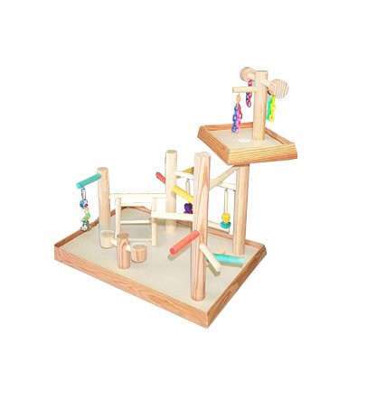 BirdsComfort Bird Play Gyms, Bird Activity Center, Wood Table Top Play Ground for Parakeets - Base: 20'' x 16'' , Overall Height: 18'' - 2 levels by Bird Gyms