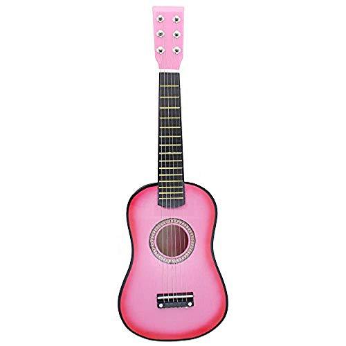 HIPOLOTUS 21 Inch Guitar Beginner 6 String Wooden Guitar for Children Kids, Ukulele Soprano Hawaiian Guitar-Pink