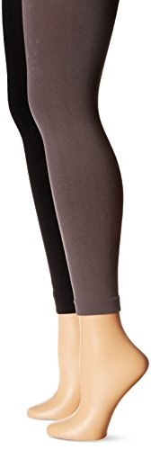Muk Luks Women's Fleece Lined 2 Pair Pack Leggings, Black/