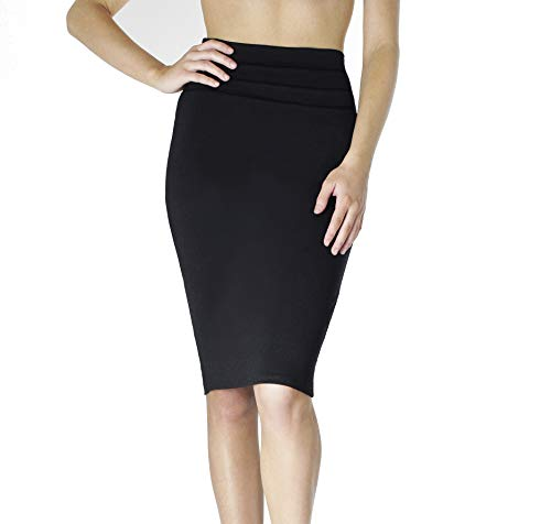 BAYSYX Black Pencil Skirt - High Waisted Knee Length Skirt (X-Large, No Slit)